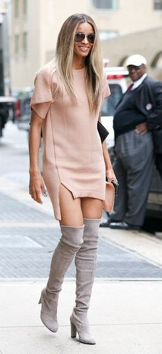 Ciara in Stuart Weitzman boots out & about in NYC. #bestdressed