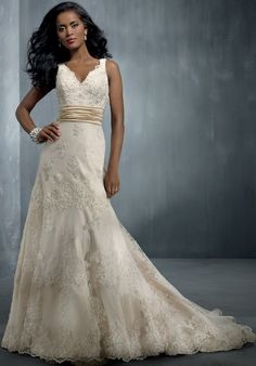 Alfred Angelo Signature - 2251 fitted a-line satin lace tulle gown fully adorned with crystal beaded lace appliqué with a chapel train. pretty golden ivory metallic elements https://www.theknot.com/fashion/2251-alfred-angelo-signature-wedding-dress