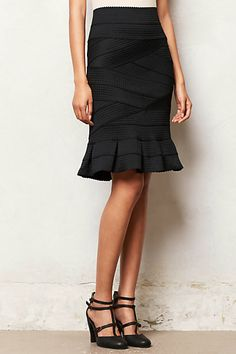 Flounced Ponte Pencil Skirt - anthropologie.com; zigzag on my lower half? (also needs to be shorter)