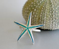 Sterling Starfish Ring w/ Turquoise