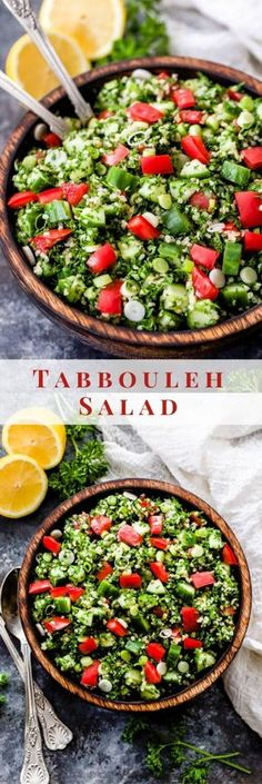 This Lebanese Tabbouleh Salad is loaded with fresh vegetables, bulgar wheat, parsley and mint. Toss everything together in fresh lemon juice and olive oil for the perfect, easy to make salad! Vegetarian Salad Recipes, Healthy Salad Recipes, Lunch Recipes, Vegan Recipes, Tzatziki Sauce, Tabouli Salad Recipe, Tabouleh Salat, Lebanese Tabbouleh, Lebanese Recipes
