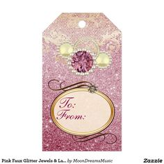 Pink Faux Glitter Jewels & Lace Gift Tags Pack Of Gift Tags