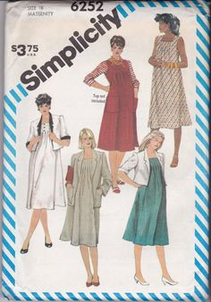 A Long Sleeve, Gathered Skirt, Fly Front Button Dress w/Collar Variations Sewing Pattern for Women: Uncut-Size 12 Bust Maternity Dresses, Simplicity Sewing Patterns, Vintage Sewing Patterns, Maternity Sewing Patterns, Waiting For Baby, Jumper Patterns, Contrast Collar, Made Clothing, Atelier