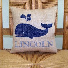Whale pillow Baby shower gift Personalized by KelleysCollections