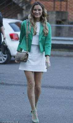 Sam Faiers spotted in a cute white & green ensemble wearing our green t-bar heels #riverisland