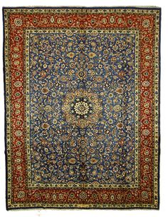 Beautiful and intricate. This Persian hand knotted blue rug is made of 100% wool. Its a great addition to any room in the house!