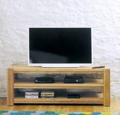 Baumhaus Aston Oak Widescreen Open Television Cabinet - CVR09A