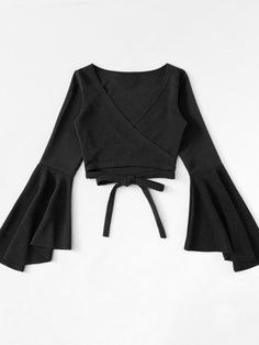 Women's Sexy Plain V-Neck Flare Long Sleeve Tied Front Cropped T-Shirt Teen Fashion Outfits, Look Fashion, Trendy Outfits, Cute Outfits, Fashion 2018, Tie Crop Top, Crop Tops, Bell Sleeves, My Style