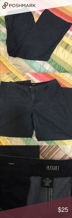 """A.n.a women's Jean trouser pant A fantastic and I think slimming design the trouser pant Jean by a.n.a in what is almost a Pinstriped Denim design to elongate the legs.  A 4 pocket design 2 from and 2 back functioning pockets.  These jeans will become your favorite go to pair to dress up or dress down. Inseam measures ~30.5"""" and rise measures ~12"""".  These will be a year round pair that you love that are in very good used condition with a zip fly and button and clasp closure. a.n.a Jeans"""