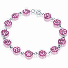 SS2776 - Pink enamel, crystal and 925 sterling silver bracelet - 19.5cm Dragonheart. $49.50. Presentation box. Pink enamel, crystal and 925 sterling silver bracelet