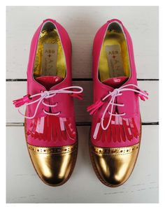 ABO + Ana Ljubinkovic shoes with fringes #abo #shoes #brogues #oxfords #pink #gold #abo+analjubinkovic