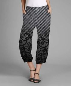 Black & Gray Stripe Capri Pants - Plus #zulily #zulilyfinds