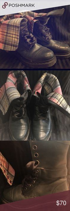 Army green Doc Martens Pink accent - ribbon laced. Plaid pink inside - can be folded or laced up straight doc martens Shoes Combat & Moto Boots
