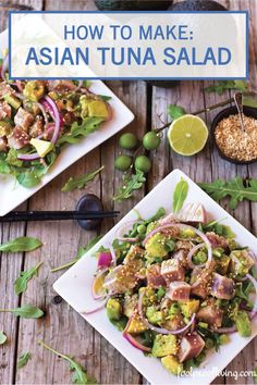 An easy to make Weeknight Asian Tuna Salad recipe in 6 quick steps and in less than half an hour. Tuna Recipes, Healthy Salad Recipes, Seafood Recipes, Asian Recipes, Ethnic Recipes, Fish Dishes, Seafood Dishes, Main Dishes, Asian Tuna Salad Recipe