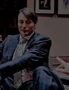elegant, relaxed, smiling Hannibal