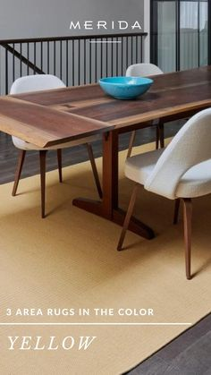 Home Interior Design, Interior Architecture, Rug Inspiration, Yellow Area Rugs, Carpet, Bedroom, Table, Furniture, Color