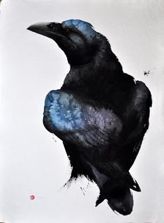 raven, watercolor by Karl Martens Watercolor Animals, Watercolor And Ink, Watercolor Paintings, Watercolors, Watercolor Trees, Watercolor Portraits, Watercolor Landscape, Abstract Paintings, Crow Art