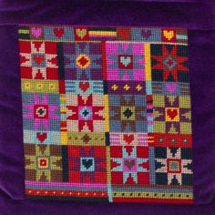 A patchwork style needlepoint design of stars, in wonderful rich colours. Needlepoint Designs, Needlepoint Pillows, Needlepoint Stitches, Needlepoint Kits, Needlework, Cross Stitch Pillow, Cross Stitch Embroidery, Cross Stitch Designs, Cross Stitch Patterns