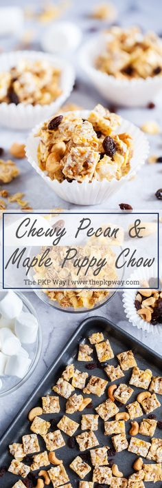 Chewy Pecan & Maple Puppy Chow with soft and chewy raisins and crunchy cashews is a fun and non-traditional way to enjoy cereal. Fall Recipes, Snack Recipes, Dessert Recipes, Snacks, Puppy Chow, Sweet Breakfast, Pumpkin Dessert, Unique Recipes, Kid Friendly Meals
