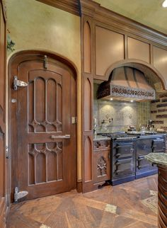 Old World style kitchen - that Gothic door is to the walk-in refrigerator - pic 1 of 2