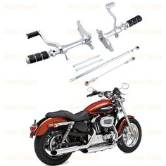 Powersports Peg Lever Linkages with Mounting Kit Compatible with 1991-2003 Harley Sportster XL883 XL1200