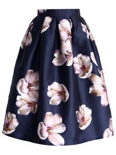 Peach Blossom Print Midi Navy Skirt