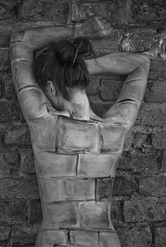 """Never blend in to the environment. ☮ American Hippie Music Art ~ """"Just Another Brick In the Wall"""" - Photography by Kristijan Antolovic, 2009 - Body painting by Matea Mazur - Model: Mirzana, Osijek, Croatia Brick In The Wall, Brick Wall, Conceptual Photography, Creative Photography, Body Art Photography, Photography Women, Arte Peculiar, Graffiti, Photoshop"""