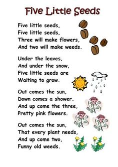 Plants Poems For Kids Free Five Little Seeds