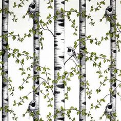 Fabric white black Birds green Birches Modern Scandinavian