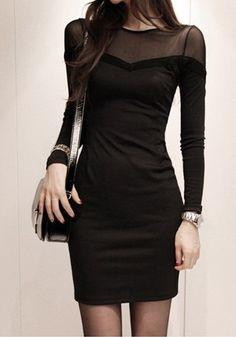 Black Mesh-Panel Dress