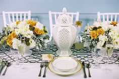Who knew mustard yellow could be wedding-appropriate? It's so chic, here.