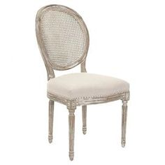 "The woven round backs and weathered finish of these oak side chairs pair perfectly with their fluted details and turned legs to create a classic and country-chic air in your dining room. Product: Set of 2 chairs Construction Material: Oak, polyester and linen Color: Pickled oak and gray Features: Romantic design Generously stuffed seat for extra support Dimensions: 38.6""H x 19.9"" W x 24.6"" D each"