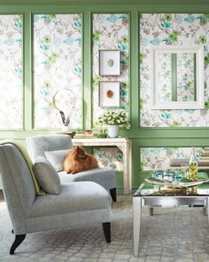 There are beautiful benefits to wallpapering compartments within a paneled wall. The fluidity of a floral print plays off the structure of molding for a fresh, unexpected look. Plus, there are few (if any) seams to match up. Go for a pattern featuring a medium-size flower head, and paint the bordering woodwork the same color as one of the strongest hues in the paper. Whitewell wallpaper, in Silver, $88.40 per 11-yard roll, by Designers Guild, 617-449-5506. Paint, in Rhododendron Leaf, ...