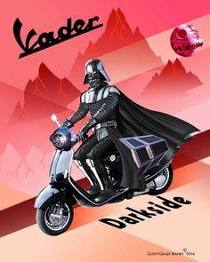 About the print: This is a print from an original artwork by Christopher Brown. … About the print: This is a print from an original artwork by Christopher Brown. It is Darth Vader on a Vespa in a vintage Art Deco poster style. Moto Scooter, Lambretta Scooter, Scooter Girl, Vespa Scooters, Vespa Shop, Df Mexico, Star Wars Fan Art, Vintage Posters, Vintage Art