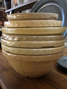 old yellow ware mixing bowls, always remember my Gramma had these