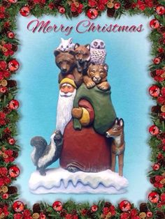 Hand-carved-Santa-with-skunk-many-animals-in-sack-by-Susan-M-Smith