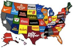 Most Famous Brands by State This seems about right!