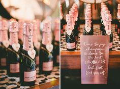 rose gold champagne favors // love the mini bottles with names on them