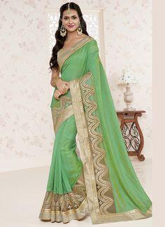 Wedding Wear Green Gold Designer Sarees