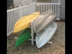 How to Build a Kayak Storage Rack Diy Kayak Storage Rack, Diy Rack, Boat Storage, Built In Storage, Storage Ideas, Storage Spaces, Kayaking Gear, Kayak Camping, Canoe And Kayak