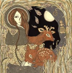 """fuckyeahpaganism: """" """"Beira is a Scottish Winter deity associated with the Stag. Here she is depicted in her guise as the Maiden in Autumn with young deer and a corn dolly, which was thrown into the fields during Autumn harvest so that Beira would be..."""