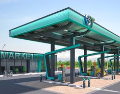 """Creation of petrol station """"Victoria"""" visual design. on Behance Retail Architecture, Architecture Design, Ev Charging Stations, Building Elevation, Bathroom Floor Plans, Filling Station, Futuristic City, Led Signs, Bus Station"""