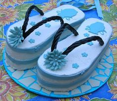 Flip flop cake.---cute summer cake. Wonder what it would like in red,white and blue for 4th of July?