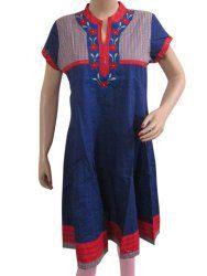 Designer Blue Kurta Tunic Shirt Boho Cotton Anarkali Long Kurti Womens Clothing