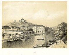 """""""Turun vanhan suurtorin ympäristö vuonna 1856. Taustalla vartiovuori, jossa vasemmalla palotorni ja oikealla observatorio."""""""