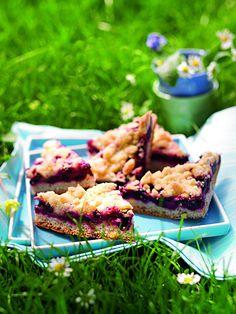 Heidelbeer-Streusel-Schnitten Ein fruchtiger Kuchen mit Blaubeeren und Streuseln für die Party