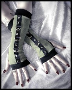 Gothic Unisex Dark Side Boot Camp Bondage Arm Warmers - Light Army Olive Sage Green - Silver Metal D Rings - Vampire Fetish Cyber Goth. $38.00, via Etsy.