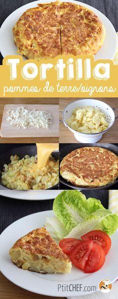 Tortilla espagnole pommes de terre et oignons Vegetarian Recipes, Snack Recipes, Cooking Recipes, Healthy Recipes, Cooking Pasta, Easy Smoothie Recipes, Easy Smoothies, Tortillas, Easy Tortilla Recipe