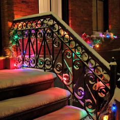 Colorful christmas lights on a stair cover with snow. I added twinkle lights to it. Christmas Scenes, Christmas 2017, Christmas Art, All Things Christmas, Winter Christmas, Christmas Lights, Christmas Decorations, Xmas, Christmas Images