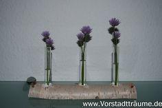 Birken Tischdekoration mit Vasen - Reagenzgläser